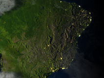 West of South America at night on planet Earth Stock Images