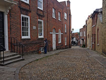 West Street in Rye, East Sussex. West Street with a view of Lamb House left, Rye, East Sussex, England, UK. The house is run as a writer& x27;s house museum. It royalty free stock images