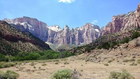 The West Temple at Zion National Park. This is the view of the West Temple from the Museum at Zion National Park royalty free stock photography
