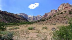 The West Temple at Zion National Park. This is the view of the West Temple from the Museum at Zion National Park stock photos