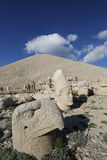 West terrace of Mount Nemrut, Turkey. Adiyaman, Turkey - May 27, 2017: Statues of West terrace at Mount Nemrut on May 27, 2017. The UNESCO World Heritage Site at Stock Image