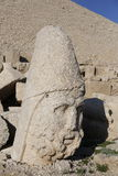 West terrace of Mount Nemrut, Turkey. Adiyaman, Turkey - May 27, 2017: Statues of West terrace at Mount Nemrut on May 27, 2017. The UNESCO World Heritage Site at Royalty Free Stock Photos