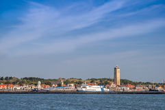 West-Terschelling skyline with Brandaris lighthouse, Holland Stock Images