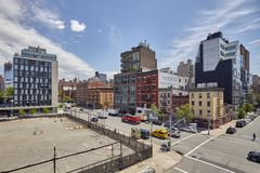 West 18th Street and 10th Avenue intersection seen from the High Line. New York City, USA - June 02, 2017: West 18th Street and 10th Avenue intersection seen stock photo