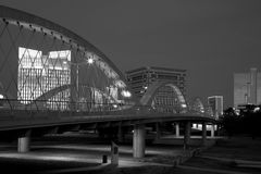 West 7th strret bridge and  downtown Fort worth Stock Images