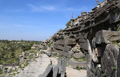 West Theatre of Umm Qais (Umm Qays)-- is a town in northern Jordan near the site of the ancient town of Gadara Stock Photo