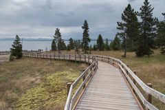 West Thumb Geyser Basin Boardwalk Royalty Free Stock Photography