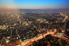 West Tokyo bird's eye view at night Stock Image