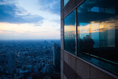 West Tokyo sunset. Bird's eye view from observatories on the 45th floor of Tokyo Metropolitan Government Building at night, Japan Royalty Free Stock Photos