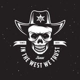 In the west we trust t-shirt design. Vector vintage illustration. Royalty Free Stock Photography
