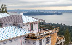 WEST VANCOUVER, BC, CANADA - FEB 10, 2016: New home being built in West Vancouver`s British Properties. The area continues to see stock photo