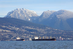 West Vancouver, Coast Mountains, Freighters Stock Images