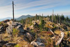 West view from Svaroh mountain in Sumava mountains Stock Photos