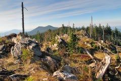 West view from Svaroh mountain in Sumava mountains Stock Photos