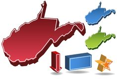 West Virginia 3D. Set of 3D images of the State of West Virginia with icons Royalty Free Stock Image