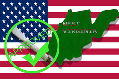 West Virginia on cannabis background. Drug policy. Legalization of marijuana on USA flag, Royalty Free Stock Photos