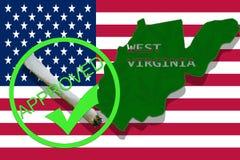 West Virginia on cannabis background. Drug policy. Legalization of marijuana on USA flag, Royalty Free Stock Photos
