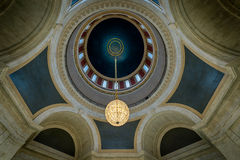 West Virginia Capitol inner dome. Crystal chandelier hanging from the dome of the West Virginia State Capitol building n Charleston, West Virginia stock photo