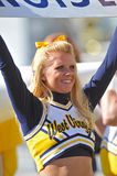 West Virginia cheerleader holding sign Stock Photos
