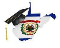 West Virginia state college and university education concept, 3D rendering. West Virginia education concept of a 3D state map icon and a university graduate Stock Photo