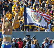West Virginia Flag pregame at a football game Royalty Free Stock Photo