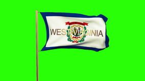 West virginia flag with title waving in the wind. Loops sun rises style stock video