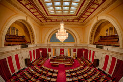 West Virginia House of Representatives. Fisheye perspective of the House of Representatives chamber from the balcony of the West Virginia State Capitol building royalty free stock images