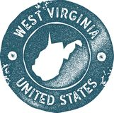 West Virginia map vintage stamp. Retro style handmade label, badge or element for travel souvenirs. Blue rubber stamp with us state map silhouette. Vector Royalty Free Stock Images