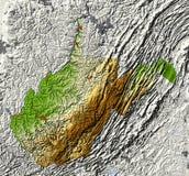 West Virginia. Mapa de relevo protegido Imagens de Stock