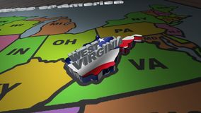 West Virginia pull out from USA states abbreviations map. State West Virginia pull out from USA map with american flag on background. A map of the US showing the stock footage