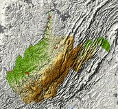 West Virginia. Shaded relief map Stock Images