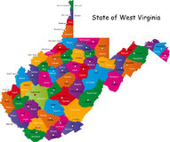 West Virginia state. Map of West Virginia state designed in illustration with the counties and the county seats Royalty Free Stock Images