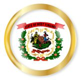 West Virginia  Flag Button. West Virginia state flag button with a gold metal circular border over a white background Stock Photography
