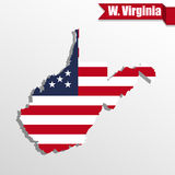 West Virginia State map with US flag inside and ribbon Royalty Free Stock Images