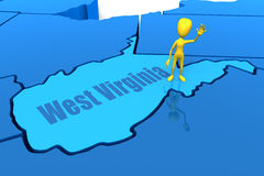 West Virginia state outline with yellow stick figu Stock Photos