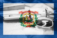 West Virginia U.S. state flag Gun Control USA. United States. Gun Laws Stock Photos