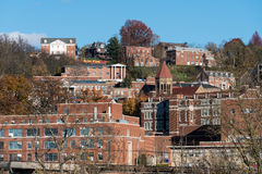 West Virginia University in Morgantown WV. MORGANTOWN, WEST VIRGINIA, USA - NOVEMBER 18: Greek Letter buildings in West Virginia University in Morgantown WV on stock image