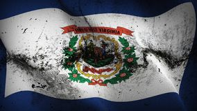 West virginia US State grunge dirty flag waving on wind. royalty free stock photography