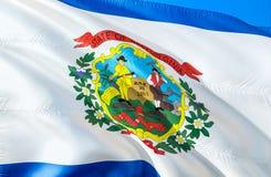 West- Virginiaflagge 3D, das USA-Staatsflaggenentwurf wellenartig bewegt Das nationale US-Symbol von West- Virginiastaat, Wiederg stock abbildung