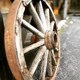 West Wheel. West wooden wheel in Western farm in Boden Royalty Free Stock Images