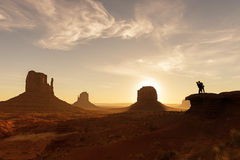 A west wild love story. Monument valley national park during sunrise stock photo