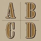Westalphabet beschriftet Weinlese vector (a, b, c, d) Stockfotos
