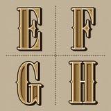 Westalphabet beschriftet Weinlese vector (e, f, g, h) Stockbild