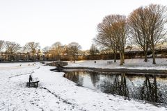 Free Westburn Park With A Small Pond, Stone Bridge And Bench During Winter Season, Aberdeen, Scotland Stock Image - 160063021