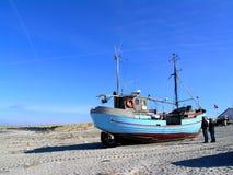 Westcoast fishing. Traditional fishing boats hauled ashore at Vorupore on the west-coast of Jutland, Denmark Stock Image