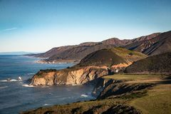 Westcoast on highway number 1 in california, USA. With Bixby Bridge Royalty Free Stock Image