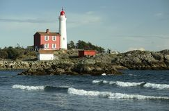 Westcoast Lighthouse Victoria. Fisgard lighthouse on the westcoast of British Columbia, Canada Stock Image