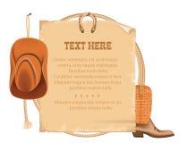 Westcowboyhut und amerikanisches Lasso Altes Papier des Vektors für Text Stockbilder