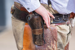 Westcowboypistolenheld Lizenzfreie Stockbilder