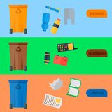 Weste recycling vector garbage cards waste types sorting processing treatment remaking trash utilize recycling icons. Illustration. Garbage boxes and bins Stock Image
